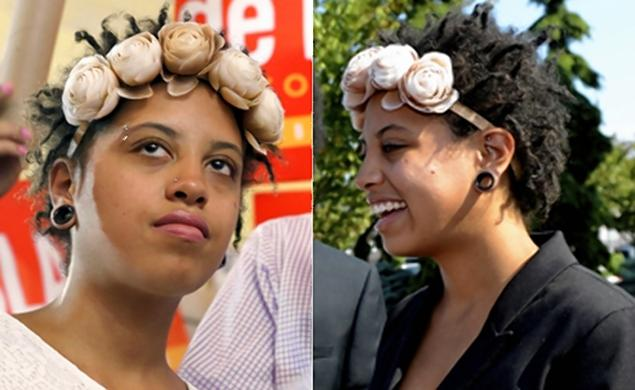 chiara de blasio, flower crowns, black fashion icons