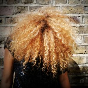 blonde afro, natural hair