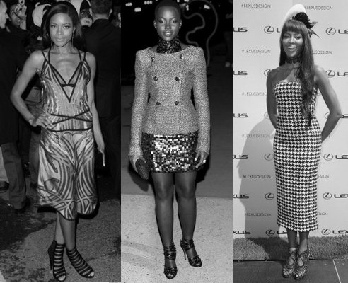Black fashion Models, Lupita Nyong'O, Naomi Campbell, Naomie Harris