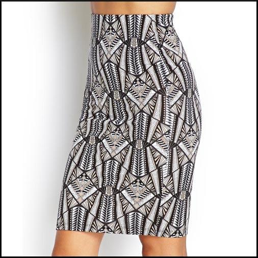 Knit Tribal Print Skirt Forever 21