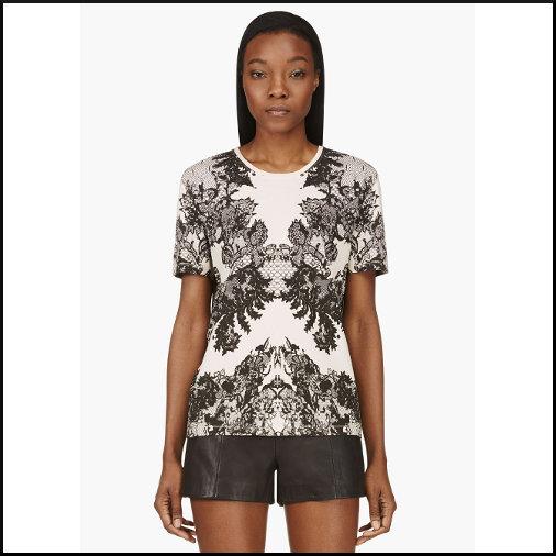 Peach Lace Print T-Shirt mc Alexander Mcqueen