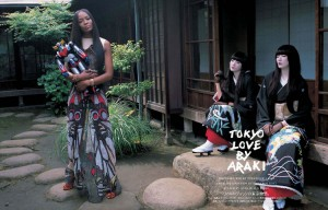 Editorials. Naomi Campbell With Riccardo Tisci, Saki Asamiy , and Yuumi. by Nobuyoshi Araki.