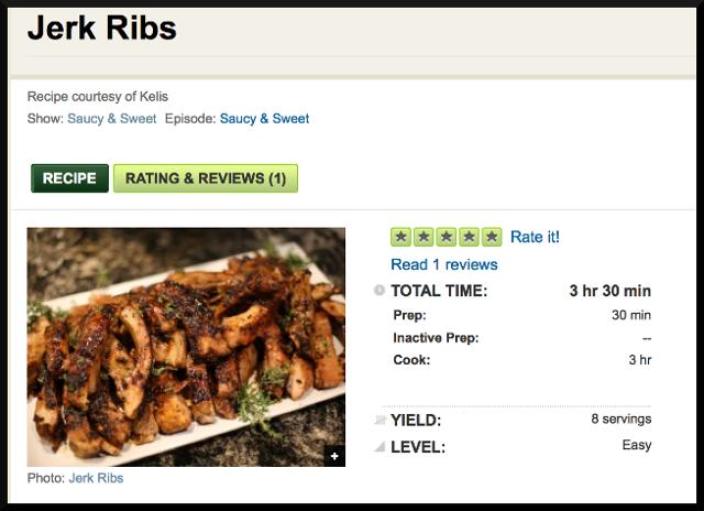 Kelis Jerk Ribs Recipe