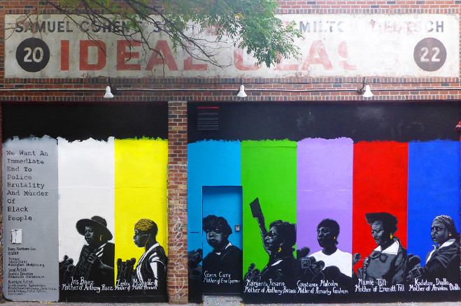 New York Artist Creates Mural Featuring 'Portraits of Mothers Who Have Lost Their Children to Police Brutality'.