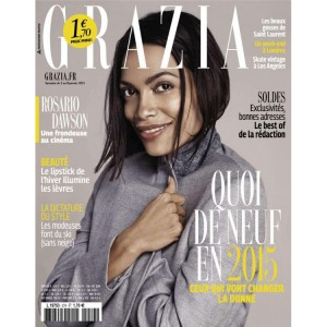 Editorials.  Rosario Dawson. Grazia France.  January 2015.