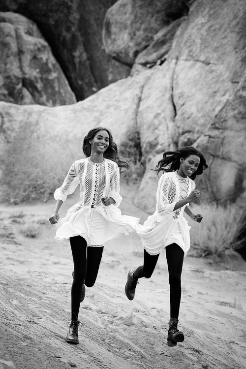 Leila Nda, Aya Jones, Imaan Hammam, Malaika Firth, Tami Williams and Kai Newman Vogue black Fashion Models Peter Lindbergh