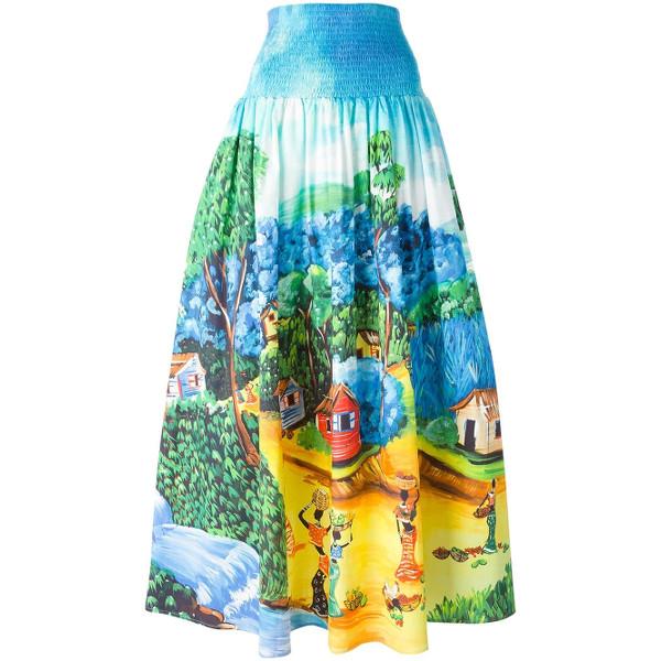 Stella Jean Landscape Print Maxi Skirt.