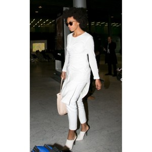 Paparazzi Files.  Solange Rocks a Killer All-White Ensemble.