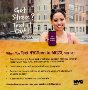 Chiara De Blasio Announces A New Text-Only Hotline For Troubled Teens in New York City.