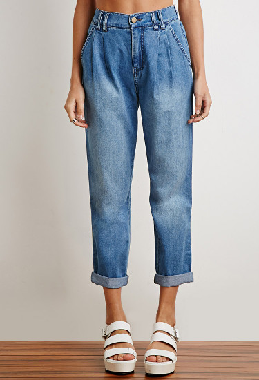 High-Waisted Denim Trousers