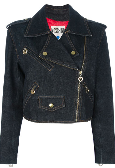 MOSCHINO VINTAGE denim biker jacket