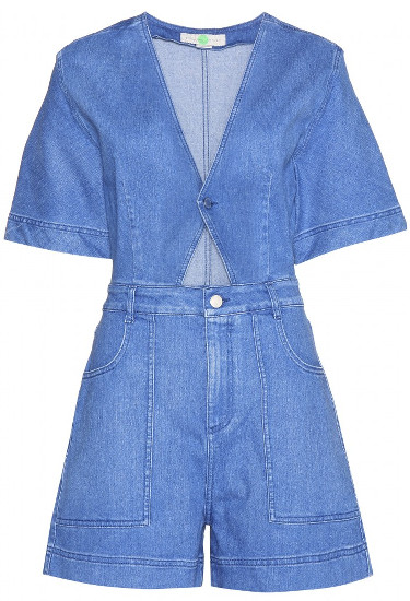 STELLA MCCARTNEY Cut-out denim playsuit