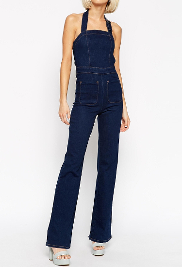 ASOS Denim Flare Overall in Clean Indigo