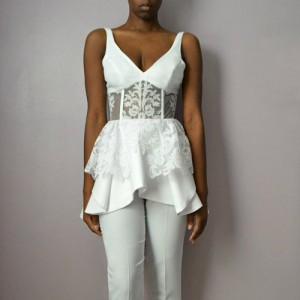 "Say ""I do"" in A Chic Wedding Jumpsuit by Daniela Tabois."