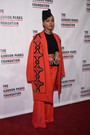 Janelle Monáe Steps Out in a Tracy Reese Coat.