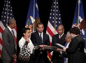 Loretta Lynch Sworn in as 83rd U.S. Attorney General by Justice Sonia Sotomayor Using a Bible That Belonged to Frederick Douglass.