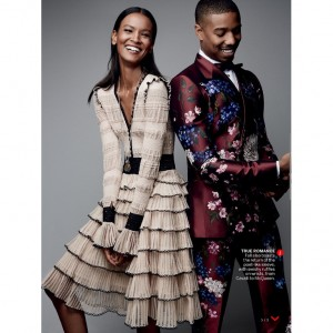 Editorials.  Liya Kebede and Michael B. Jordan.  Vogue August 2015.  Images by Patrick Demarchelier.