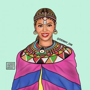 Art. Ghanian Illustrator Dennis Owusu-Ansah Depicts American Celebrities in African Attire.