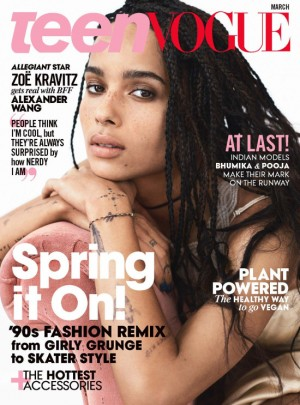 Zoë Kravitz Covers The March 2016 Issue of Teen Vogue.  Talks Race in Hollywood.