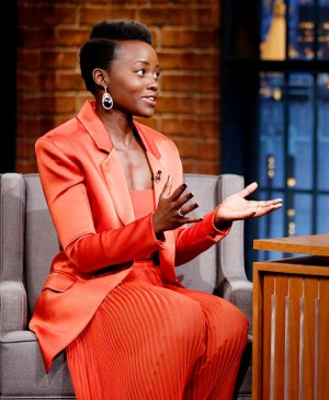 Lupita Nyong'o Visits 'Late Night With Seth Meyers' in Balmain SS15.