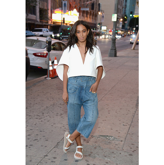Paparazzi Files Solange Steps Out In Milly Rachel Comey And Teva Superselected Black