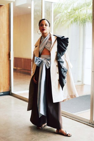 'Creed' Star Tessa Thompson Models Tome Collection, Inspired by Afro-Cuban Artist Belkis Ayon.