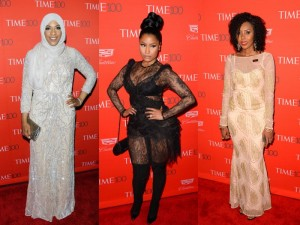 On the Red Carpet. Nicki Minaj, Jaha Dukureh, and Ibtihaj Muhammad Shine at the Time 100 Gala.