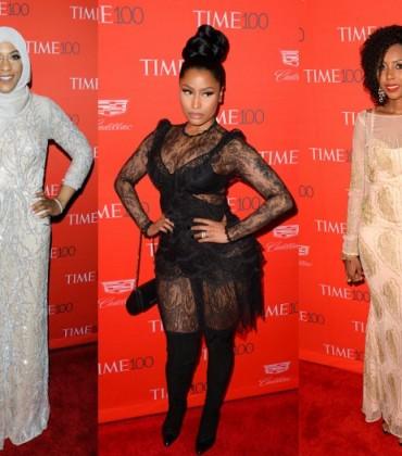 On the Red Carpet. Nicki Minaj, Jaha Dukureh, and Ibtihaj Muhammad Shine at the Time 100 Gala.
