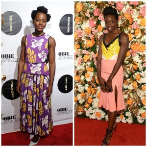 On the Red Carpet.  Lupita Nyong'o and Danai Gurira at the 2016 Obie Awards.