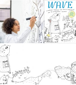 Enter to Win.  This ADULT COLORING BOOK by Shantell Martin Folds Out Into a NINE-Foot Long Mural.