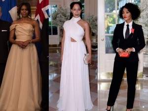 Michelle Obama in Naeem Khan + Tracee Ellis Ross and Janelle Monáe at the White House Nordic State Dinner.