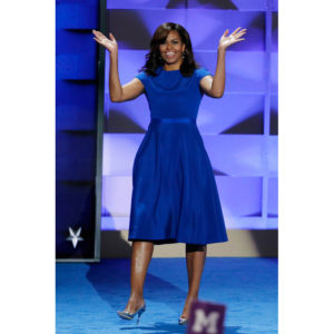 First Lady Michelle Obama Wears Christian Siriano at the Democratic National Convention.