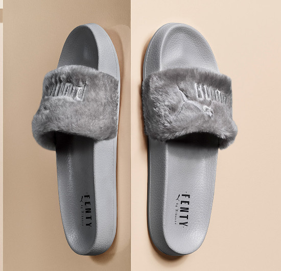 rihanna 39 s furry fenty puma slides will be available in grey next month superselected black. Black Bedroom Furniture Sets. Home Design Ideas