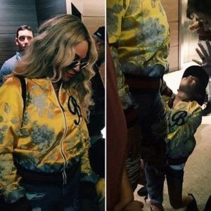 Beyoncé and Blue Ivy Rock Matching Custom Gucci Bomber Jackets.