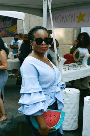 At the Essence Magazine Street Style Block Party.