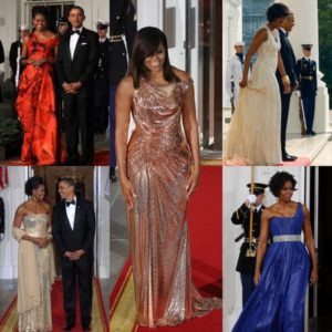 Michelle Obama Wears Custom Atelier Versace to Her Final State Dinner.  + A Look Back.