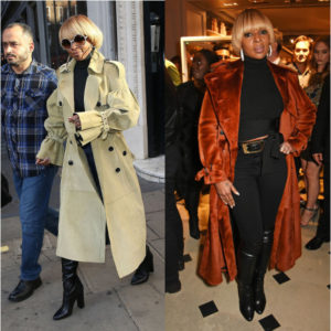 Mary J. Blige Rocks Two Burberry Statement Coats.