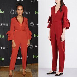 Kerry Washington Wears a Red Bell Sleeve Jumpsuit by Roksanda.
