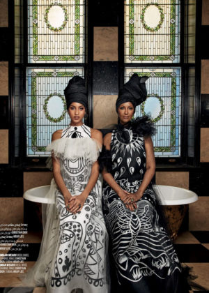 Editorials Iman and Imaan Hammam. Vogue Arabia March 2018.  Images by Patrick Demarchelier.